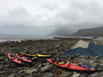 Two Japanese kayakers are traversing the Aleutian Chain without the use of GPS, satellite phones or rescue radio. (Photo courtesy of Takao Araiba)
