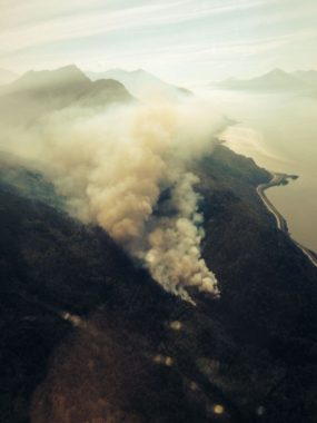 A 25-acre wildfire burns in the McHugh Creek drainage south of Anchorage off the Seward Highway at about 10:30 a.m., July 17, 2016. (Alaska Division of Forestry photo)