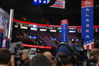 The view from the Alaska delegation section of the floor of the Republican National Convention in Cleveland, July 18, 2016. (Photo by Lawrence Ostrovsky)
