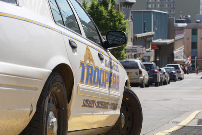 An Alaska State Trooper cruiser parked on Seward Street in downtown Juneau, 2016 07 18. (Photo by Jeremy Hsieh/KTOO)