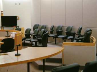 View of the jury box in one of the courtrooms in the Dimond Courthouse in Juneau.