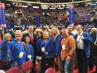 Sen. Dan Sullivan visits with the Alaska delegation after his speech Tuesday, July 19, 2016, to the Republican National Convention. (Photo courtesy Office of Sen. Dan Sullivan)