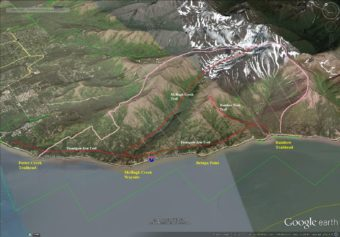 The area in the pink boundary is currently closed to public use. (Graphic courtesy Alaska Department of Natural Resources)