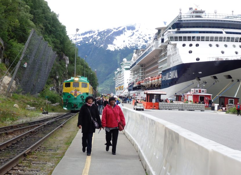 Cruise ships and passengers at Skagway's railroad dock on May 23, 2016. (Photo by Emily Files/KHNS)