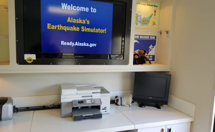The inside of Alaska's earthquake simulator is meant to mimic the inside of a home or business. The emergency preparedness and awareness event was hosted by Alaska Division of Homeland Security and Emergency Management and Juneau Local Emergency Planning Committee. The event will run through Thursday before continue its tour of Southeast Alaska. (Photo by Tripp J Crouse/KTOO)