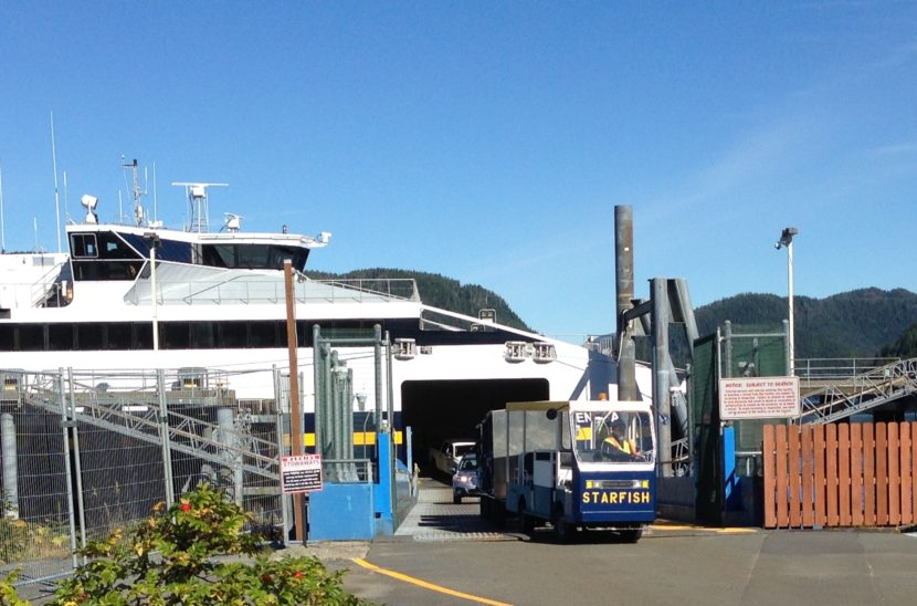 A baggage cart, nicknamed Starfish, leaves the Chenega in Sitka Sept. 3, 2015. The fast ferry is tied up for most of this fiscal year. (Photo by Ed Schoenfeld/CoastAlaska News)