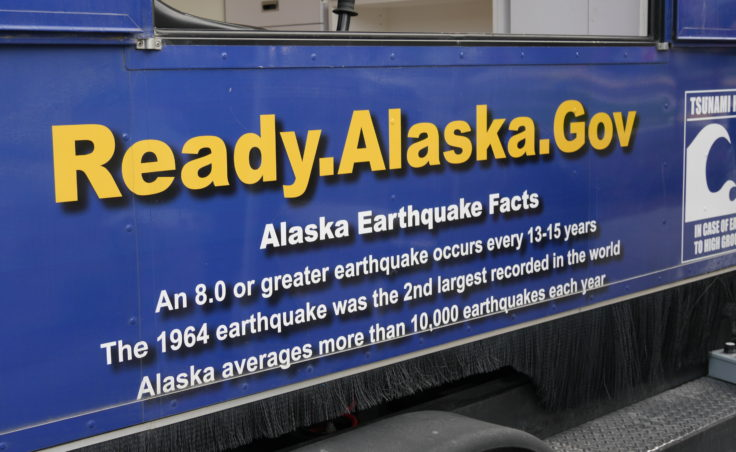 Alaska's earthquake simulator was in Juneau on Wednesday, August 31, 2016. The emergency preparedness and awareness event was hosted by Alaska Division of Homeland Security and Emergency Management and Juneau Local Emergency Planning Committee. The event will run through Thursday before continue its tour of Southeast Alaska. (Photo by Tripp J Crouse/KTOO)