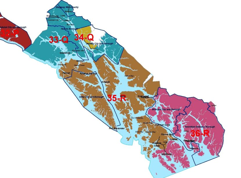 Southeast Alaska's House districts are 33, 34, 35 and 36. The Senate districts, which each include two House districts, are Q and R. (Map courtesy Alaska Redistricting Board)