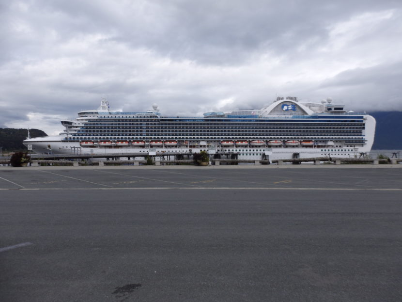 The Crown Princess cruise ship parked in Haines after high winds prevented it from docking in Skagway. (Photo by Abbey Collins/KHNS)