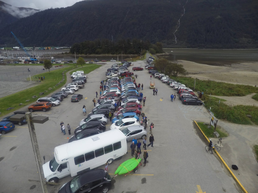 A drone shot of Juneau's electric vehicle get together. (Photo by Gabe Strong.)