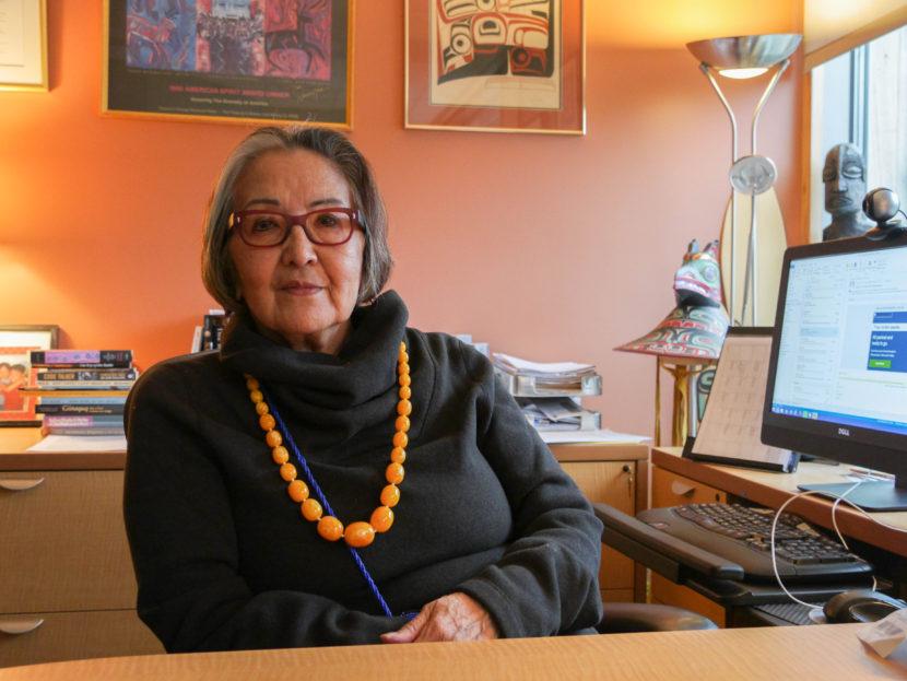 Sealaska Heritage Institute President Rosita Worl sits in her office. (Photo by Lakeidra/ KTOO)