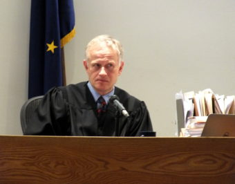 Superior Court Judge Philip Pallenberg closely watches an attorney during opening arguments in a recent civil trial.
