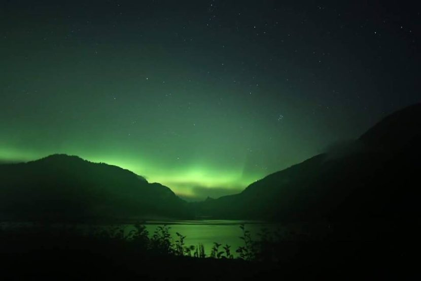The aurora borealis fills the sky in the Port Snettisham area south of Juneau visible early Thursday. They were visible across much of Southeast Alaska late Wednesday and early Thursday.