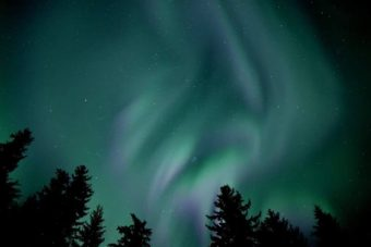 Northern lights on display over the Port Snettisham area south of Juneau early Sept. 29, 2016. They were visible across much of Southeast Alaska that night.