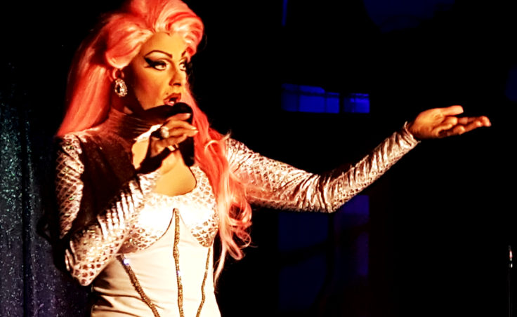 GiGi Monroe, portrayed by James Hoagland, takes a moment during Friday's amateur drag show to talk about Alaskan AIDS Assistance Association. (Photo by Tripp J Crouse/KTOO)