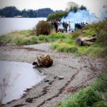 The steaming on Sitka's Eagle Beach attracted friends and family of the carvers along with Park Service employees. (Photo by Emily Russell/KCAW)