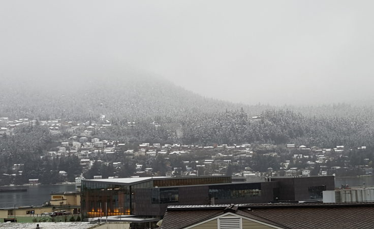 A view of Douglas Island from Downtown Juneau.