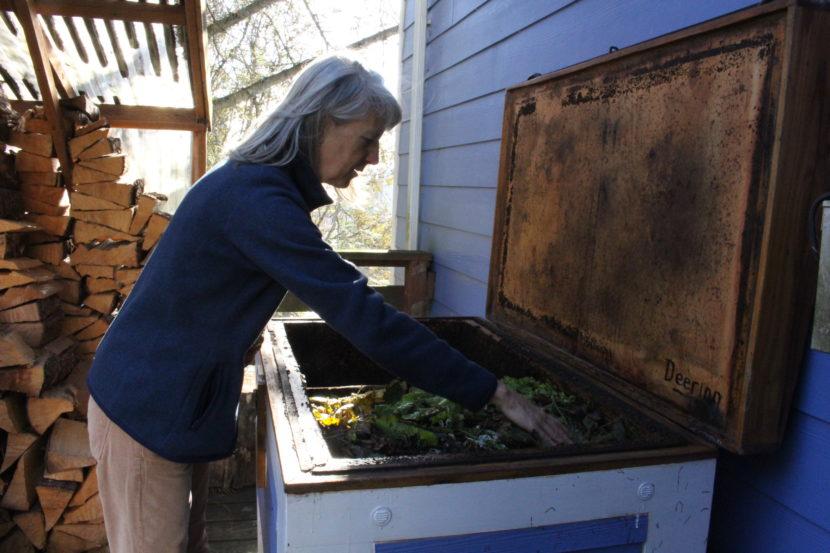 """Ann Dombkowski calls her bin the """"worm yacht."""" (Photo by Elizabeth Jenkins/KTOO)"""