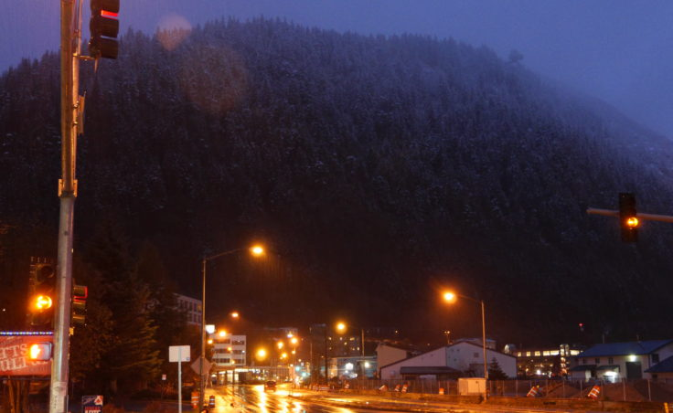 A view of Mt. Roberts from downtown Juneau on Sunday night.