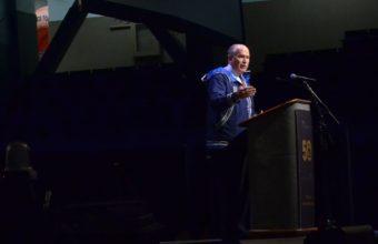 Gov. Bill Walker addresses the 2016 Alaska Federation of Natives convention, Oct. 20, 2016. (Photo by Jennifer Canfield)