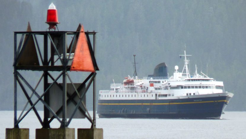 The ferry Malaspina makes a rare appearance near downtown Sitka in 2010. A new report suggests a public corporation be formed to manage ferry operations. (Photo by Ed Schoenfeld/CoastAlaska News)