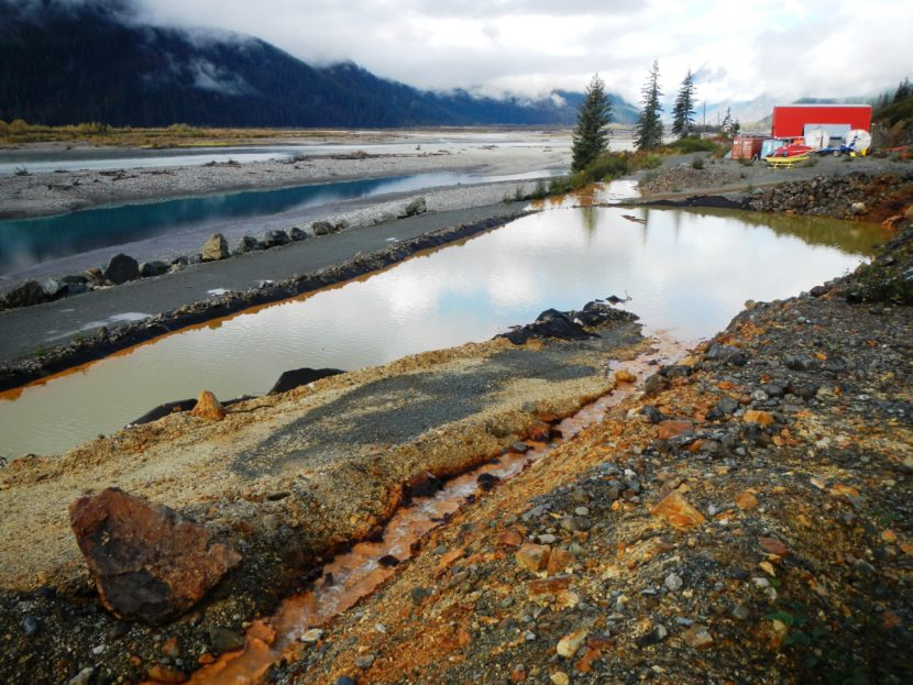 A Tulsequah Chief Mine settling pond overflows at the site about 40 miles northeast of Juneau Sept. 26, 2016. (Photo Courtesy of British Columbia Ministry of Energy and Mines)