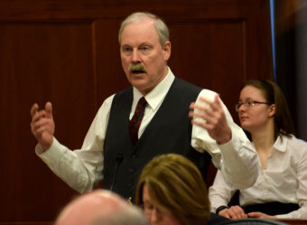 Sen. Bert Stedman, R-Sitka, argues against Senate Bill 6, which would eliminate daylight saving time in Alaska, during an Alaska Senate floor session, March 11, 2015. The Senate passed it 16-4. (Photo by Skip Gray/360 North)