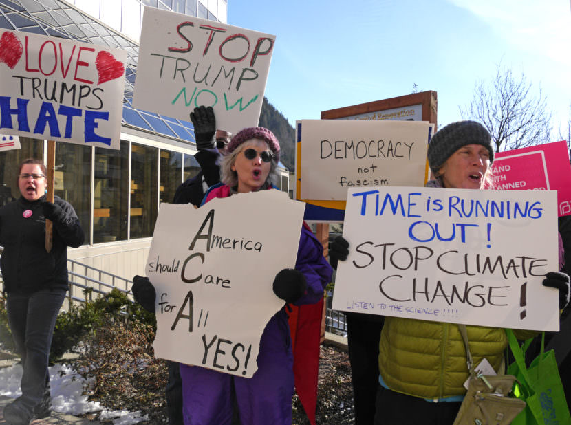 Juneau residents take part in a rally February 24, 2017, in front of the Alaska Capitol to encourage U.S Sen. Dan Sullivan to hold a town meeting, Sullivan was at the Capitol earlier in the day to give his annual address to the Legislature. (Photo by Skip Gray/360 North)