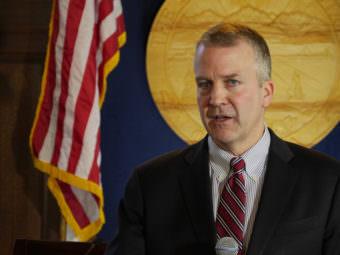 U.S Sen. Dan Sullivan talks with reporters during a press availability Feb. 24, 2017, following his annual address to the Alaska Legislature. (Photo by Skip Gray/360 North)