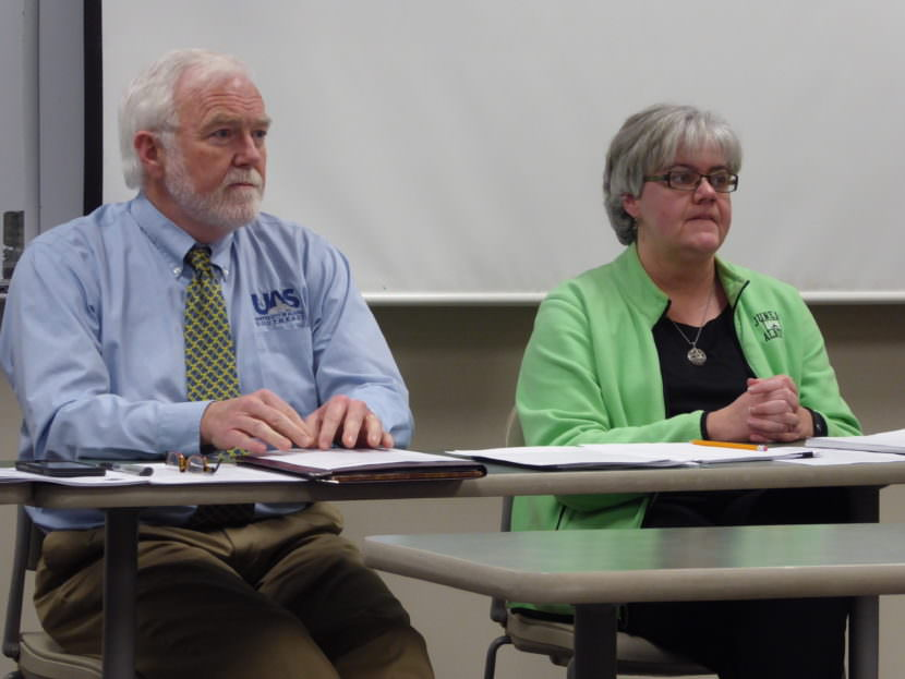 UAS Title IX Coordinator Lori Klein, right, and UAS Chancellor Rick Caulfeld, left, hosted a public forum to discuss the Office for Civil Rights investigation findings on Thursday, Feb. 23, 2016.