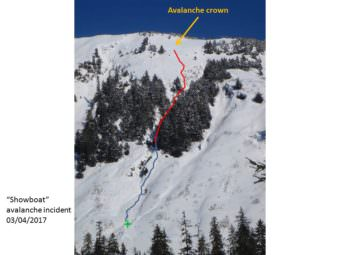 Eaglecrest Ski Area Snow Safety Director Brian Davies marked up this photo of Showboat to show the approximate paths of the rider and avalanche on March 4, 2017. The blue line is where the person slid and walked out of the gulley. The green star is where ski patrollers made first contact with the patient and escorted him to the base area and ambulance.