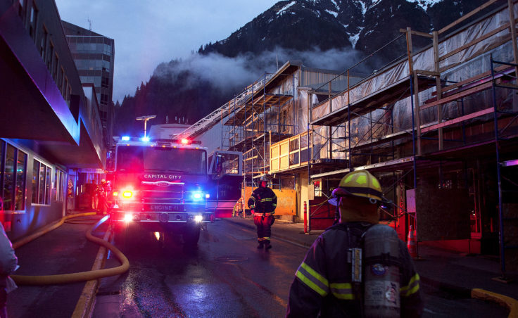 Firefighters and emergency personnel work the scene of a possible fire Saturday night, April 15, 2017, in the 200 block of Seward Street, downtown Juneau. (Photo courtesy Tripp J Crouse)