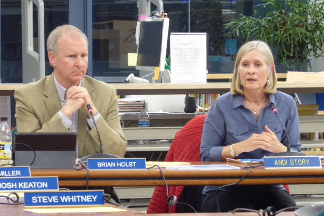 Andi Story (right) was the only school board member to vote against lifting the middle school sports travel ban on Tuesday.
