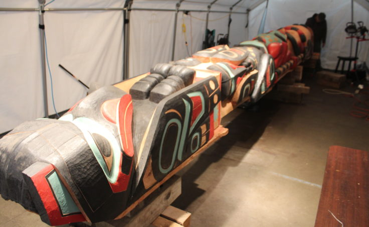This healing Raven totem will stand on the site of T'aaḵu Kwáan ancestral burial grounds on Douglas.