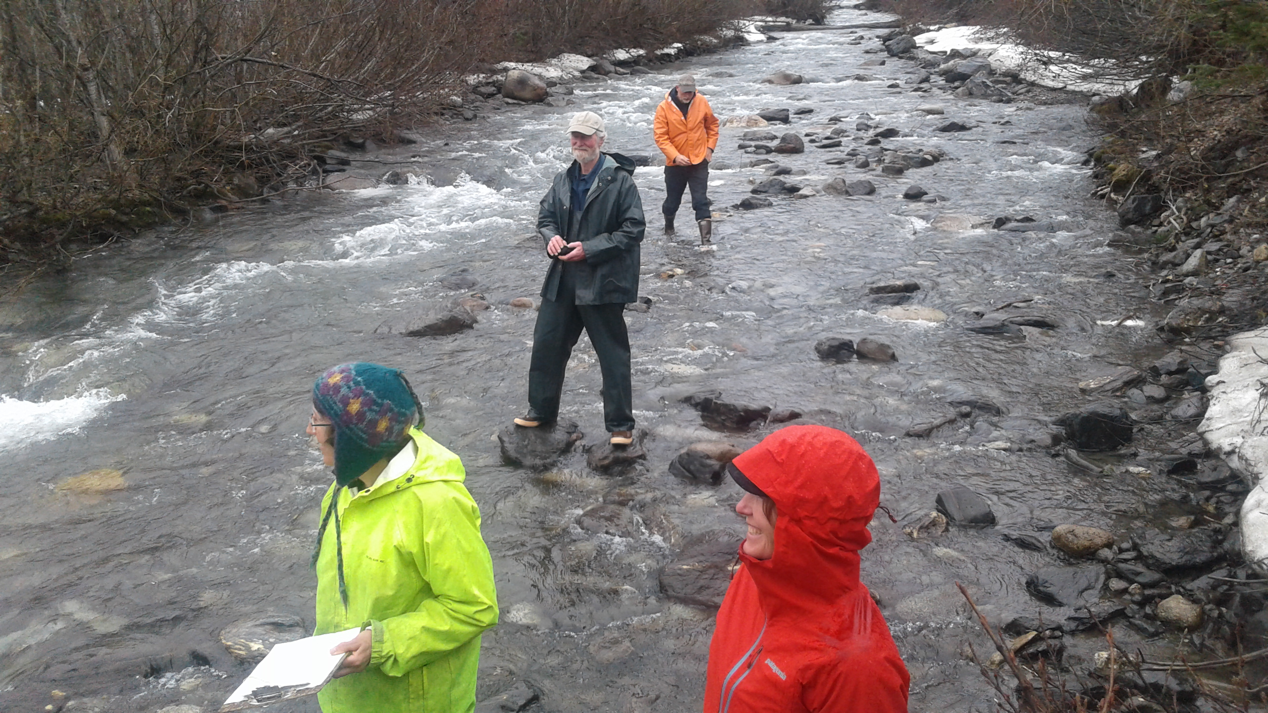 About 20 attendees from Hoonah, Sitka, Skagway and Wrangell came to Klukwan to practice stream monitoring. (Photo courtesy Jessica Kayser Forster)