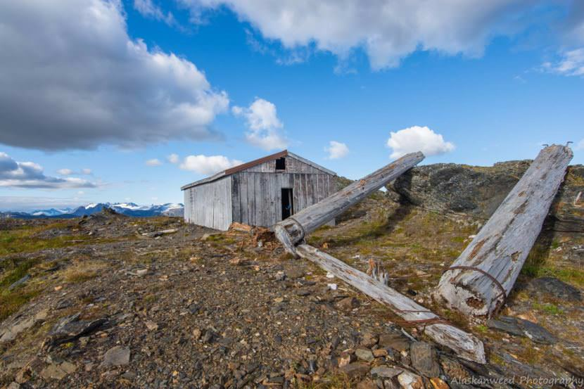 The remains of the unfinished bunkhouse at the summit of Mt. Juneau.