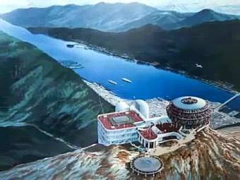 In this concept art, a helicopter prepares to land at a proposed Mount Juneau tramway complex where Chuck Keen envisioned a hotel, restaurant and performance stage. His widow, Karen Keen, says she has the concept art hanging on her wall. (Image courtesy Karen Keen)
