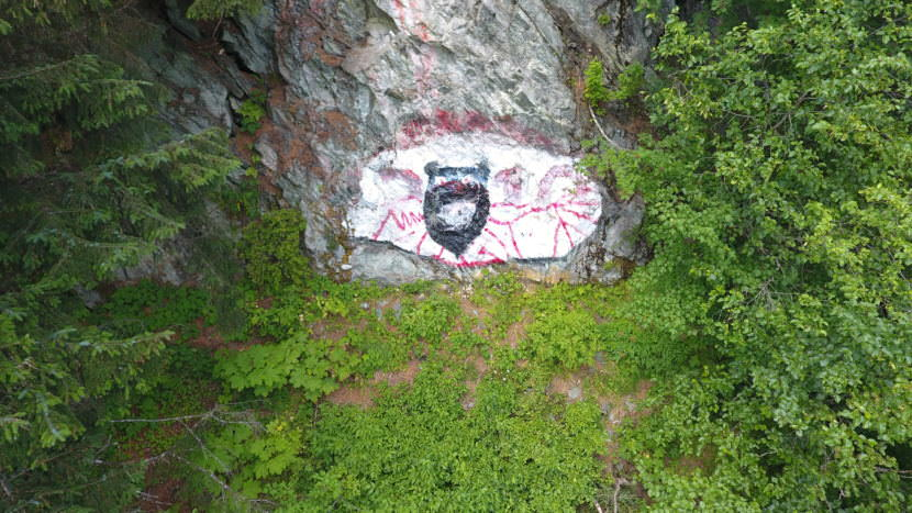 The eye painted on Mount Juneau as it appeared in 2016.