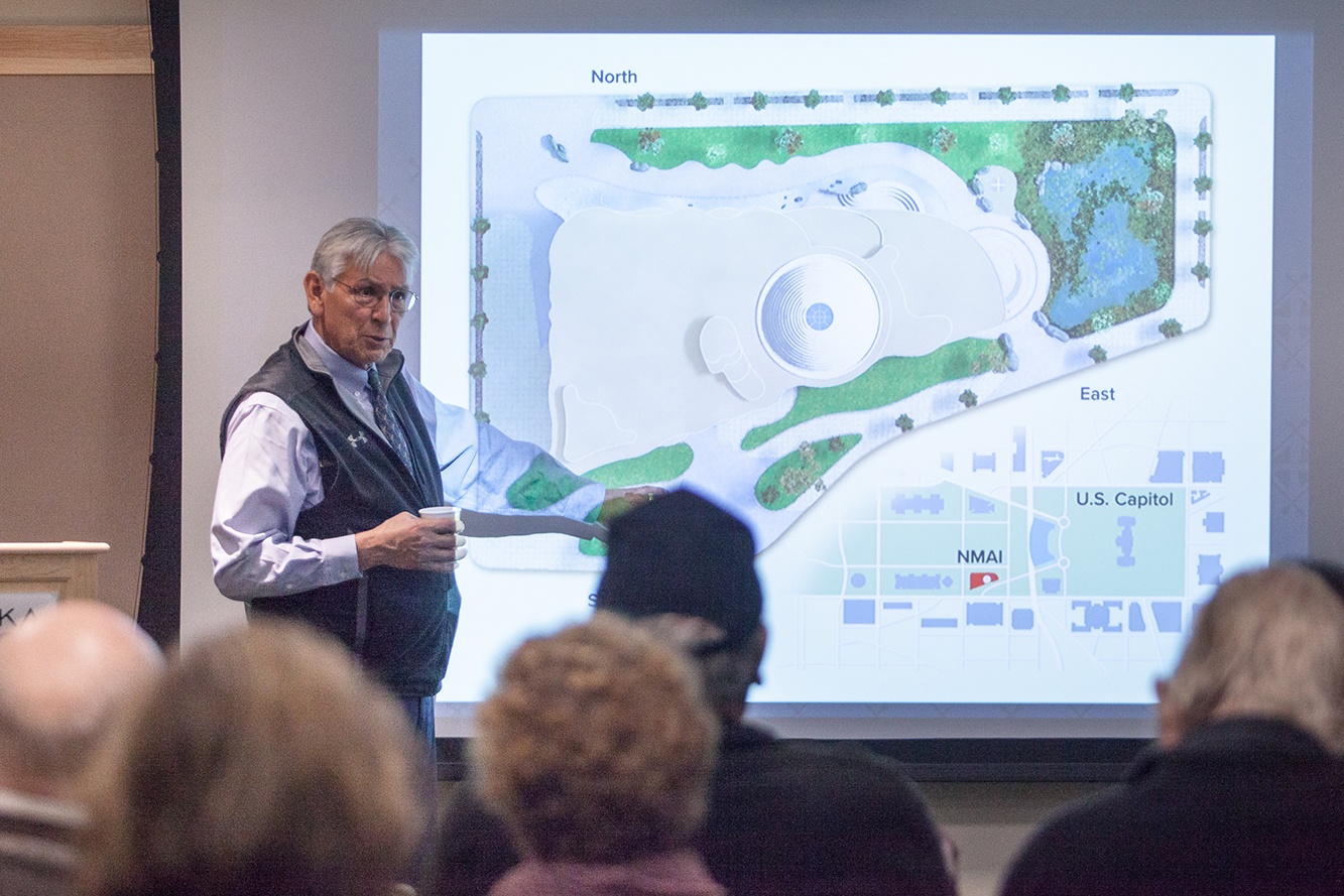 National Museum of the American Indian director Kevin Gover tells community members and area Alaska Native veterans about a proposed national memorial for Native veterans. (Photo courtesy Sealaska Heritage Institute)