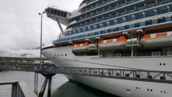 The Emerald Princess is moored Wednesday, July 27, 2017, at the S. Franklin Street Dock in Juneau. (Photo by Tripp J Crouse/KTOO)