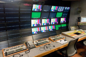 Some of the 400 or so screens in the main production truck on Wild Alaska Live. (Photo by Mikko Wilson/KTOO)