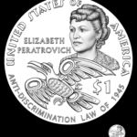 This coin sketch shows the proposed design for the reverse of the 2020 Sacagawea gold dollar coin, which features Alaska Native civil rights leader Elizabeth Peratrovich. It is one of two designs being considered by the U.S. Secretary of Treasury. (Image courtesy U.S. Mint)