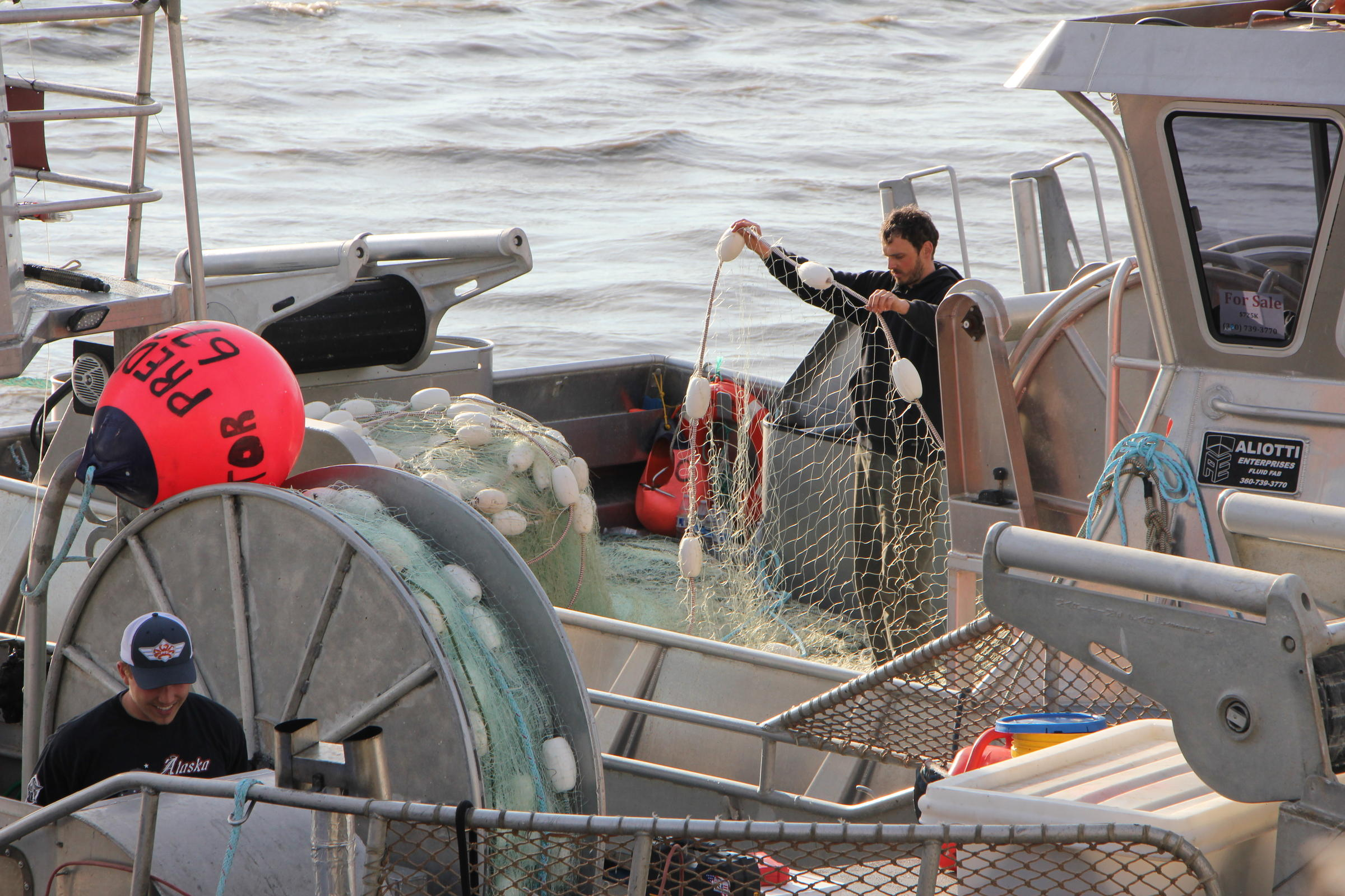 Fishermen at AGS in Egegik. (Photo by Nick Ciolino/KDLG)