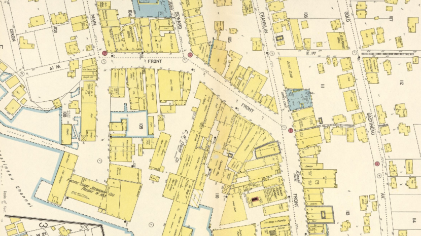 Sanborn fire map of 1914 shows female boarding houses on water side of Lower Front Street (South Franklin). Kate Dulaney and Robert Stroud stayed in Room 12 of the Clark Building which is believed to have been located in that area.