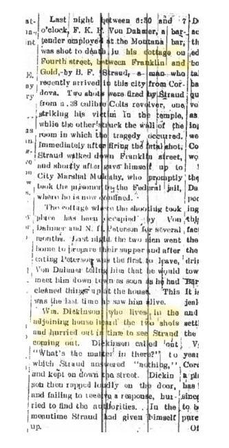 Excerpt of Jan. 19, 1909 article in Daily Alaska Dispatch.