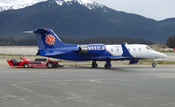 One of two Learjets LifeMed Alaska houses in Juneau on Monday, May 2, 2017.