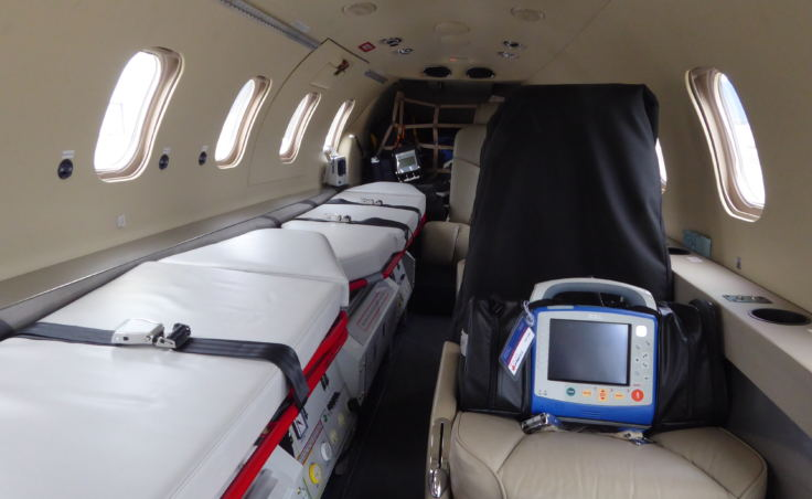 The interior of LifeMed's Learjet.