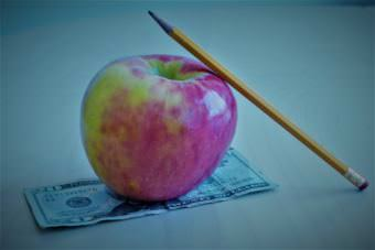 A pencil leaning against an apple sitting on top of a twenty dollar bill.