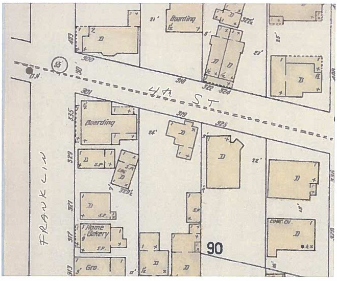 1914 Sanborn fire map shows houses on Fourth Street between Franklin and Gold.