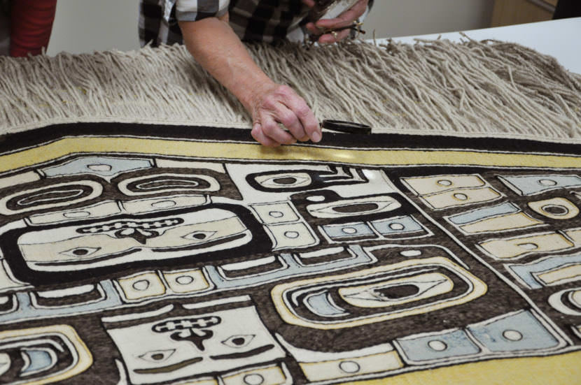 A 100-year-old Chilkat robe will be the guest of honor at a homecoming ceremony Saturday, August 26, 2017, in the Walter Soboleff Building. (photo by Davina Cole/Used with permission from Sealaska Heritage Institute)